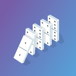 Falling Domino effect isometric concept. Vector illustration
