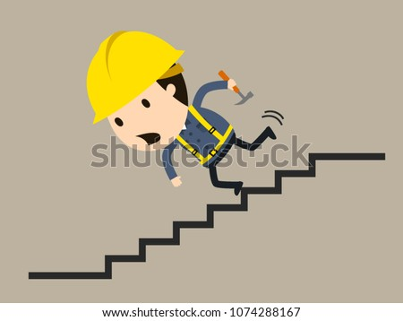 Falling down the stairs, Vector illustration, Safety and accident, Industrial safety cartoon