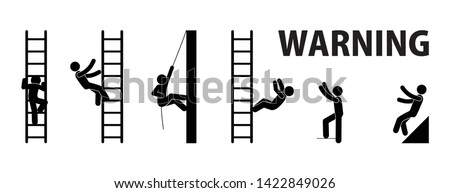 falling from a ladder, warning sign, character set stick figure man, work at height illustration, pictorama people