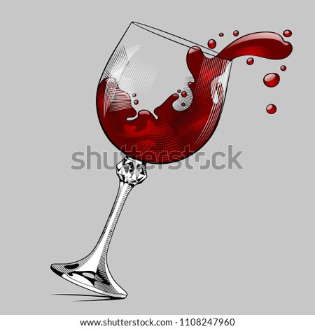 Falling glass with splashed red wine. Vintage engraving stylized drawing. Vector illustration