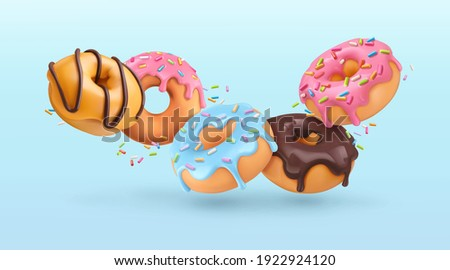 Falling glazed donuts with sprinkles. 3d realistic vector background