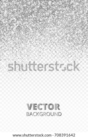 Falling glitter confetti. Vector silver dust isolated on transparent background. Sparkling glitter border, festive frame. Great for wedding invitations, party posters, Christmas and birthday cards.