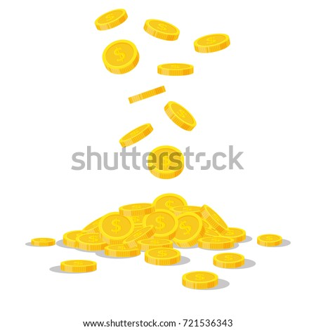 falling gold coins isolated on