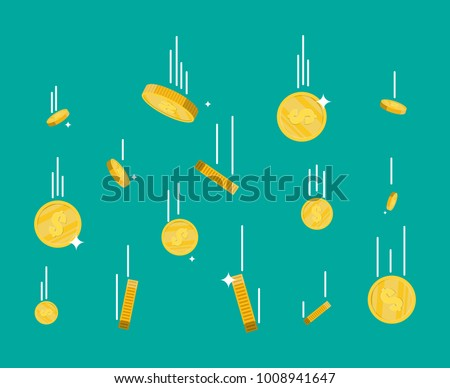Falling gold coins. Money rain. Golden coins with dollar sign. Growth, income, savings, investment. Symbol of wealth. Business success. Flat style vector illustration.