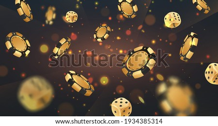 Falling golden poker chips, tokens, dices on black background with gold lights, sparkles and bokeh. Vector illustration for casino, game design, flyer, poster, banner, web, advertising. Сток-фото ©