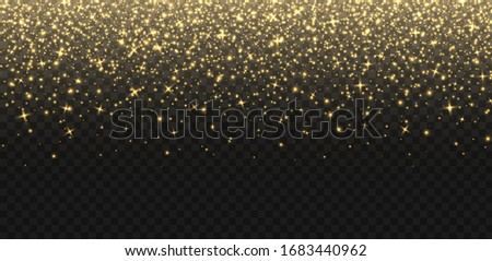 Falling golden sparkles, abstract luminous particles, yellow stardust isolated on a dark background. Flying Christmas glares and sparks. Luxury backdrop. Vector illustration.