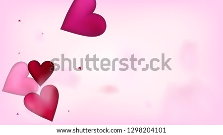 Falling Hearts Vector Confetti. Valentines Day Romantic Pattern. Elegant Gift, Birthday Card, Poster Background Valentines Day Decoration with Falling Down Hearts Confetti. Beautiful Pink Design #1298204101