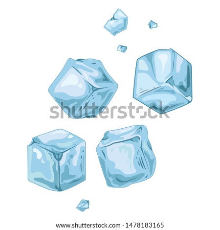 falling ice cubes - illustration