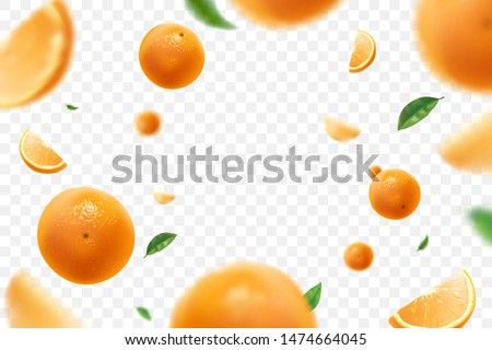 Falling juicy oranges with green leaves isolated on transparent background. Flying defocusing slices of oranges. Applicable for fruit juice advertising. Vector illustration.