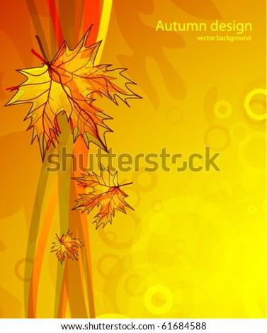 Falling leaves. Orange vector background - stock vector