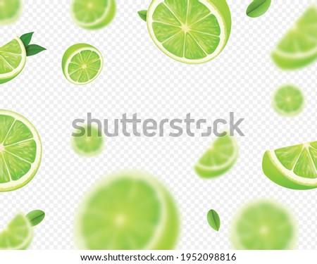 Falling lime fruit. Green slices of realistic lime, blurred motion on transparent background. Citrus fruits vector 3d illustration.