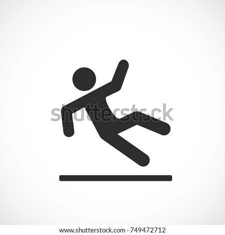 Falling man vector pictogram on white background