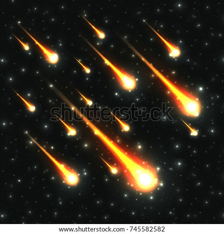 falling meteor shower on starry