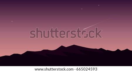 falling meteorite in dusk sky