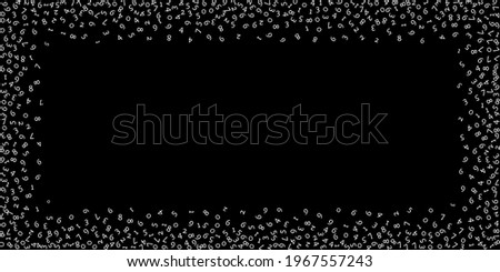 Falling numbers, big data concept. Binary white random flying digits. Unusual futuristic banner on black background. Digital vector illustration with falling numbers.