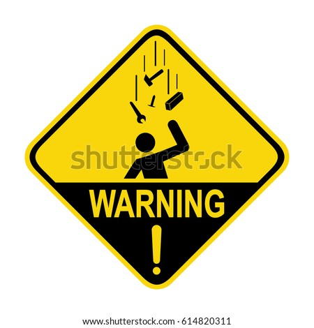 Falling objects warning sign, symbol, illustration