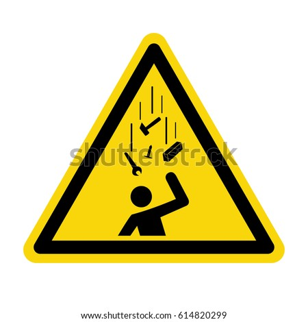 Falling objects warning sign, symbol, vector, illustration #614820299