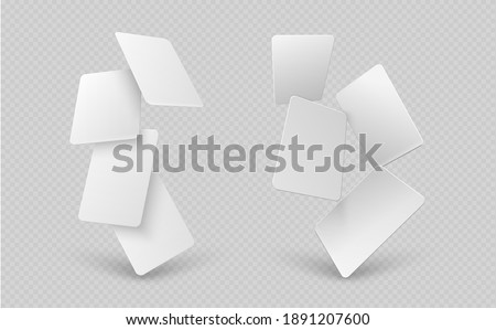 Falling paper cards. White business card, 3d mock up empty gift vouchers. Blank flying corporate identity banners, realistic sheets vector templates