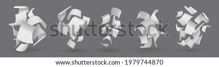 Falling paper. Realistic flying pages. Blown away 3D white sheets. Clear paperwork letters. Group of isolated curved empty documents set. Vector loose soar of notes with curled edges Photo stock ©