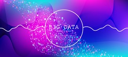 Falling Particles Distressed Purple Vector. Colorful Geometric Background. Pink Blue Purple Futuristic Gradient Overlay. Big Data Neon Background. Data Analytics Cool Banner. 3D Liquid Shapes Layout.