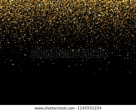 Falling particles on dark background. Lights Shine effect for your design. Falling particles for greeting card, invitation. Vector illustration.