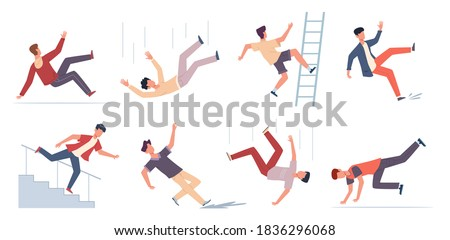 Falling people. Danger caution wet floor, falling down stairs, slipping, stumbling and downfall injured man set, beware accidents safety vector flat cartoon isolated unbalanced characters collection Stockfoto ©