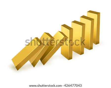 Falling price gold concept. Falling gold bars as dominoes. isolated on white background  #426477043