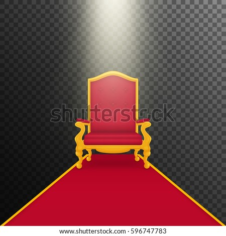 Falling rays on royal armchair of gold. Red throne, isolated on white background. Red carpet. Transparent background, vector.