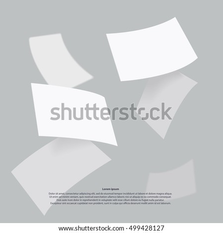 Falling realistic business cards template. Vector illustration