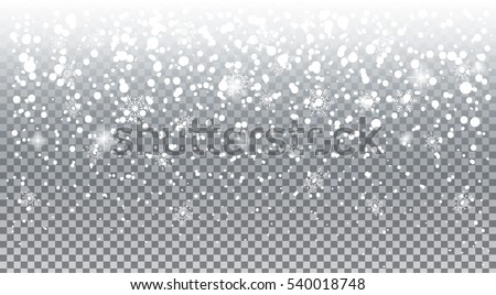 Falling realistic snow, snowflakes, transparent background. Winter Holiday landscape for Merry Christmas and Happy New Year greeting cards. Christmas decoration with white snowfall Vector illustration