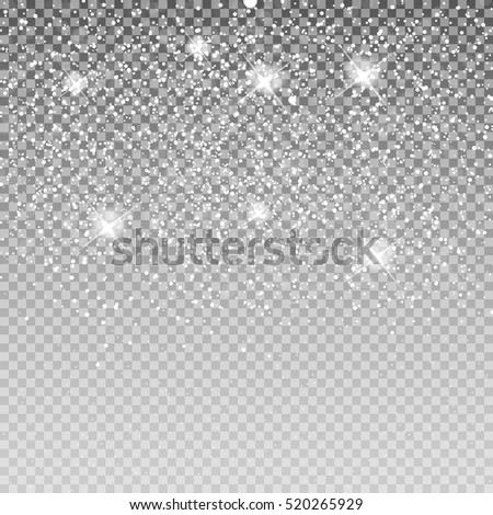 Falling Shining Snowflakes and Snow on Transparent Background. Christmas, Winter and New Year Background. Realistic Vector illustration for Your Design EPS10
