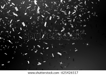 Falling Shiny Glitter silver rain  Confetti  isolated on black background. Design template for  card, invitation, Decorative element. Vector illustration.