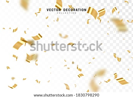 Falling shiny golden confetti isolated on transparent background. Bright festive tinsel of gold color. Vector illustration