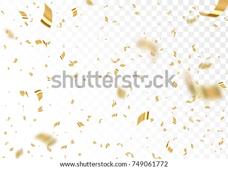 falling shiny golden confetti