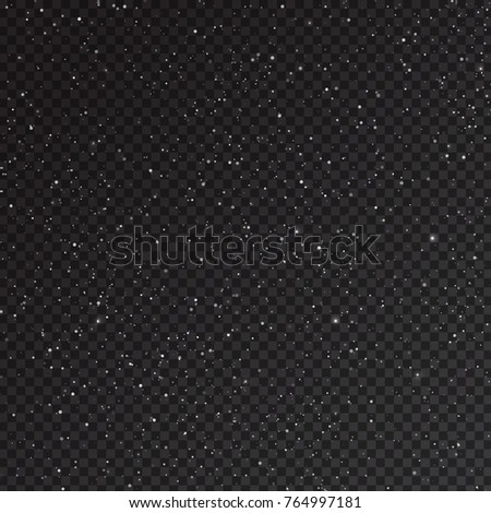 Falling snow isolated on transparent background. Realistic blizzard overlay effect with glitters for Christmas card decoration. Vector design element