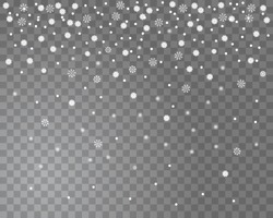 Falling snow on a transparent background. Abstract snowflake background for your winter design. Vector illustration
