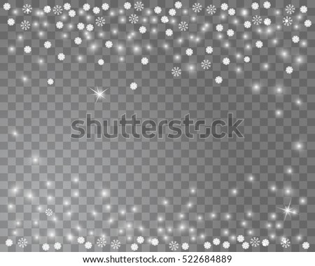 Falling snow on a transparent background. Abstract snowflake background for your winter holiday design. Vector illustration - Shutterstock ID 522684889