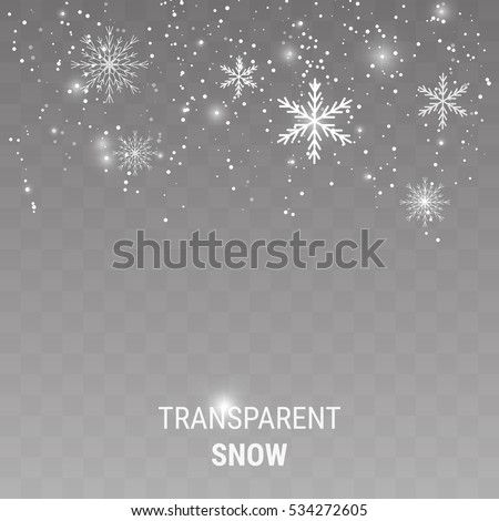 Falling snow on a transparent background. Shiny snowflakes.