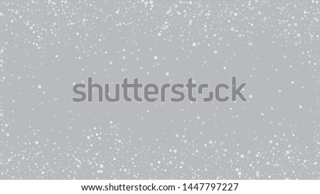 Falling Snow on Gray, Vector. Falling Snowflakes, Night Sky. Advertising Frame, New Year, Christmas Weather. Winter Holidays Storm Background. Elegant Scatter, Grunge White Glitter. Cold Falling Snow