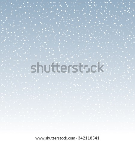 falling snow on the blue