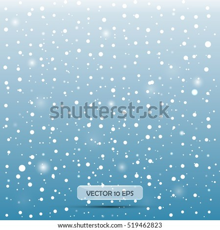Falling snow. Vector illustration, EPS10. Abstract snowflake background. Fall of snow. Easy to edit, concept for web, fabric print.
