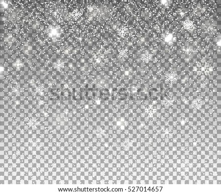 Falling snow. Vector illustration, eps10. Abstract snowflake transparent background. Fall of snow. Easy to edit, concept for web, fabric print.