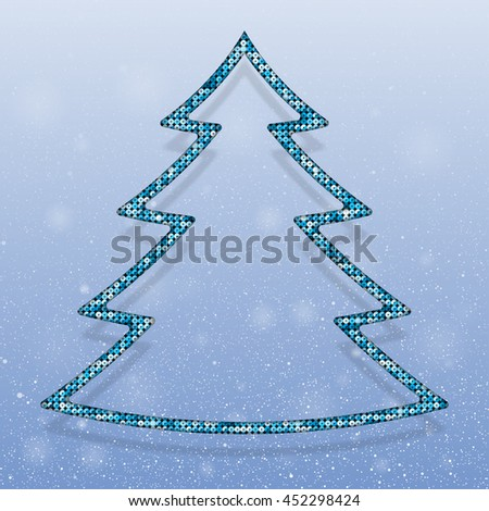 Falling snow vector. Winter snowfall hand drawn spray texture. Blue sequins in the form christmas tree. Mosaic, sequins, glitter, sparkle, stars. Christmas tree. Happy New Year and Merry Christmas.
