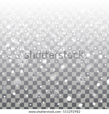Falling snowflakes isolated on a transparent background. Vector Christmas background with white snowflakes falling.