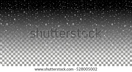 Falling snowflakes on a transparent background. Snowfall vector illustration. Abstract horizontal winter backdrop. Fall of snow. EPS 10