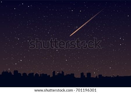 falling star over the city
