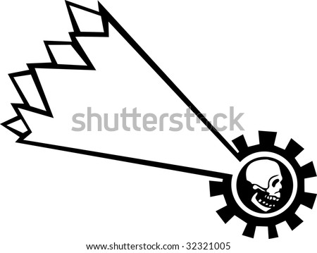 Falling star with the motif of a human skull. - stock vector