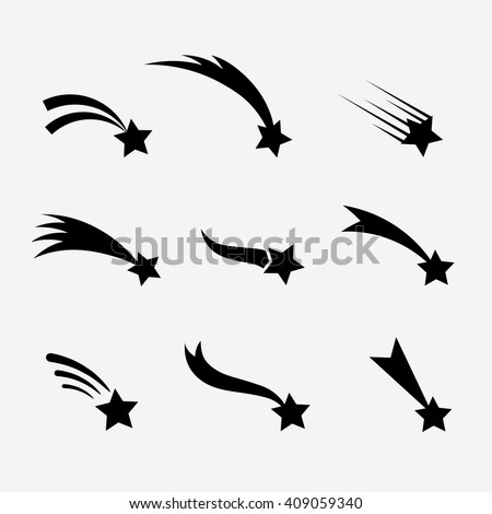 Falling stars vector set. Shooting stars isolated from background. Icons of meteorites and comets.