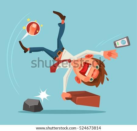 Falling unsuccessful man character. Vector cartoon illustration Stockfoto ©