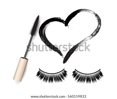 False eyelashes, mascara brush and black grunge swatch in heart shape vector illustration. Woman's cosmetics concept.